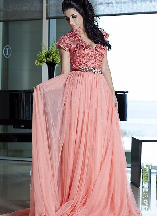 Long Pink Evening Dress Chiffon Plus Size Evening Gowns With Cap ...
