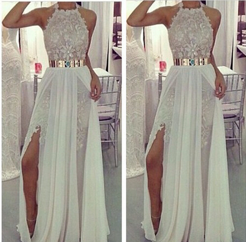 Beach Lace Chiffon Wedding Dress 2015 With Gold Belt Halter Short