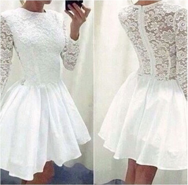 ff80e4aaf6 Long Sleeve White Lace Party Dress Cute Women Short Prom Dresses on ...