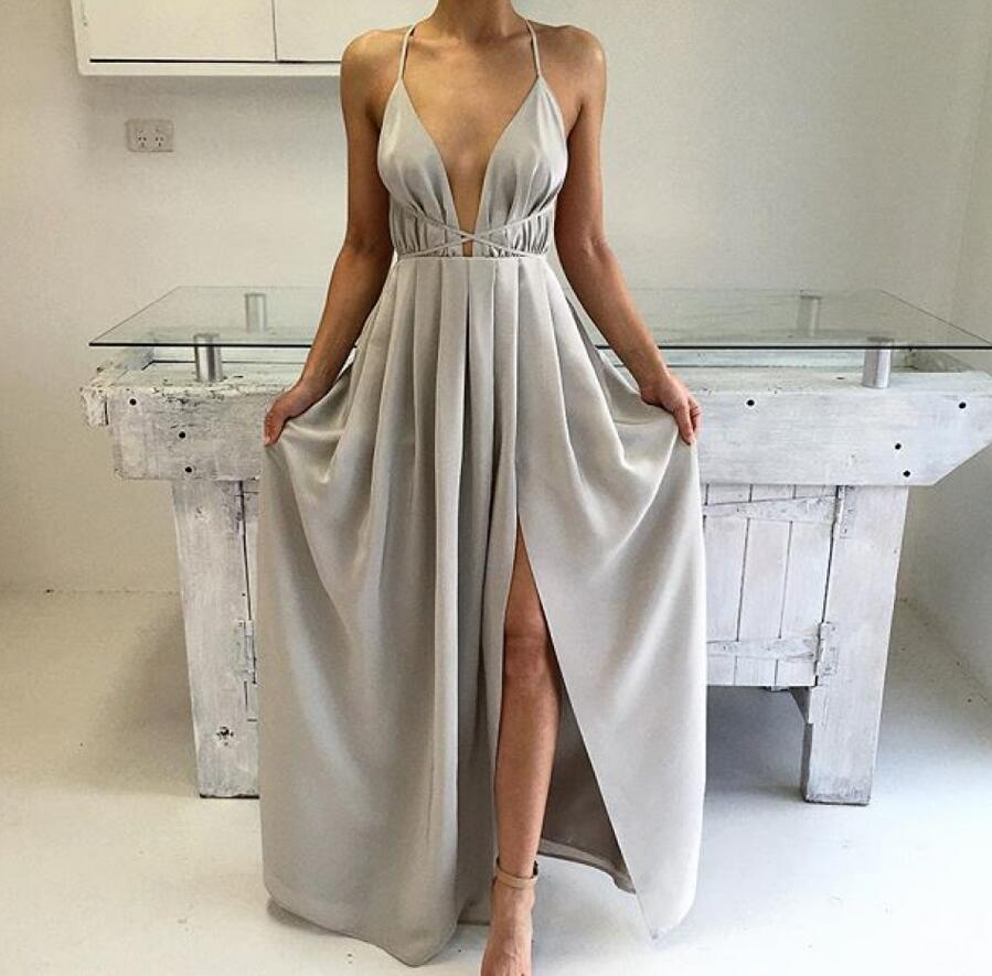 Sexy Silver Spaghetti Strap Long Formal Dress Backless Prom Dresses