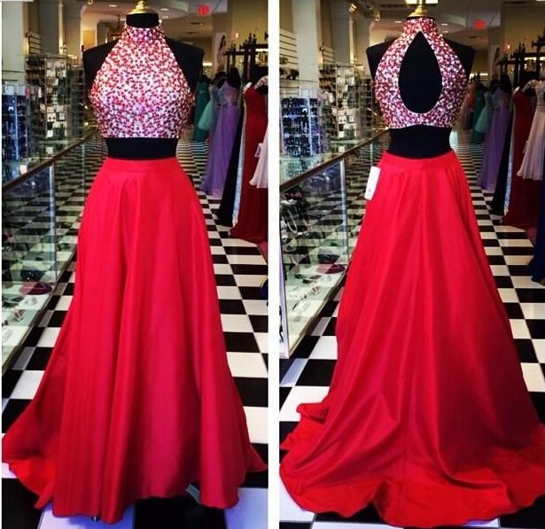 be287c6864f Two Piece Prom Dresses 2015 Open Back Red Sexy Vestido De Festa Crystal  High Neck Satin Party Evenin on Luulla